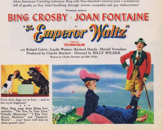 Bing Crosby and Joan Fontaine Emperor Waltz Old Musical Comedy Movie Ad