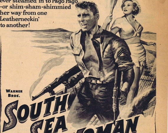 South Sea Woman 1953 movie ad, Burt Lancaster, Virginia Mayo and Chuck Connors