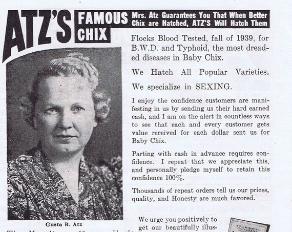1940 Atz's Famous Poultry and Baby Chick Ads with  Gusta B Atz