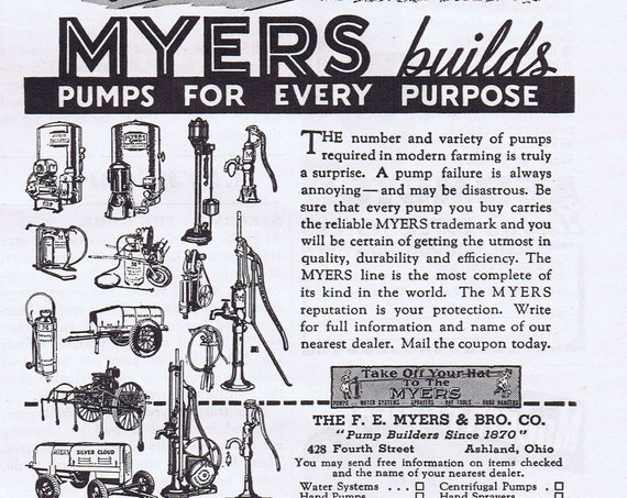 1940 Myers and Bros Pumps Original Vintage Advertisement