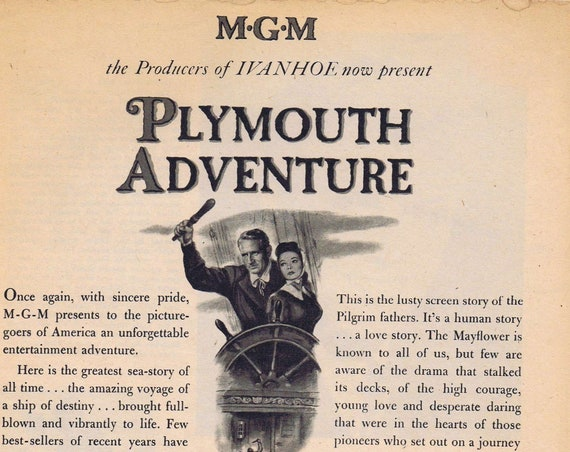 Plymouth Adventure 1952 Vintage movie ad with Spencer Tracy & Gene Tierney