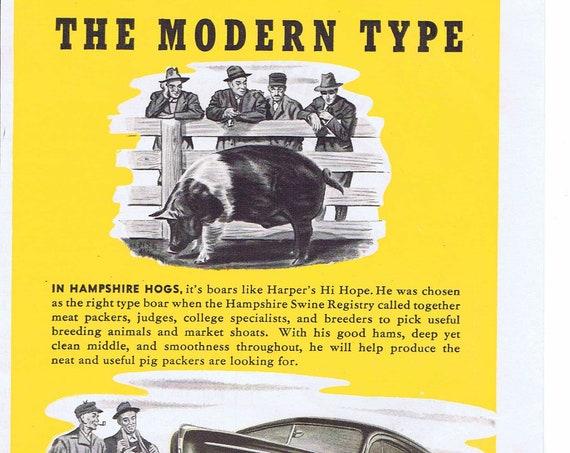 1940 Farmers and Ford V-8 Original Vintage Automobile Advertisement with Harper's Hi Hope Hampshire Boar Hog