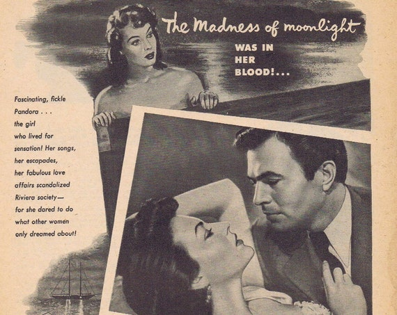 Pandora and the Flying Dutchman 1951 vintage movie ad with Ava Gardner and James Mason