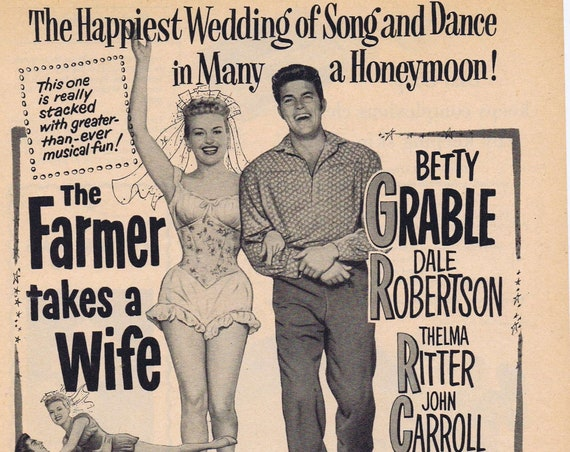 Betty Grable and Dale Robertson 1953 Movie Ad the Farmer Takes a Wife
