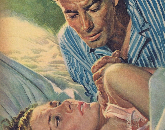 Peter Stevens 1952 Vintage Magazine Art Drawing of Man and Woman in Classic Pulp Style