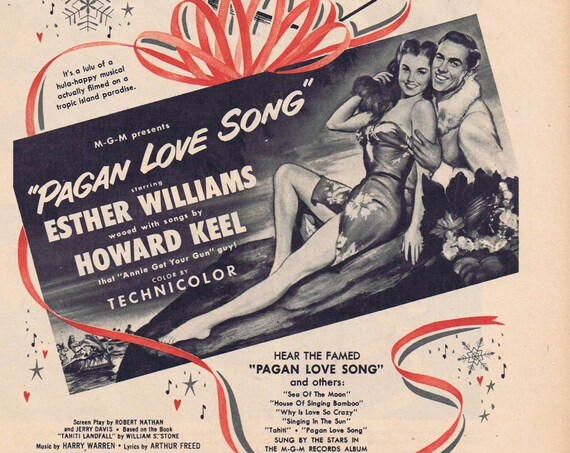 PAGAN LOVE SONG 1951 Vintage Movie ad with Esther Williams & Howard Keel
