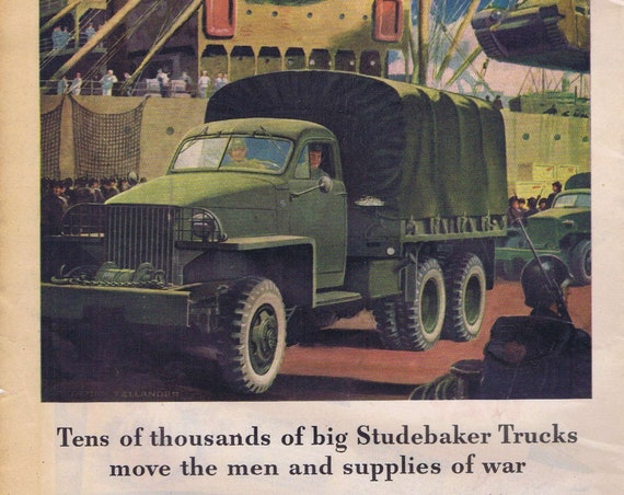 1942 WW2 Studebaker Trucks or American Farms and Morton Salt Original Vintage Advertisement