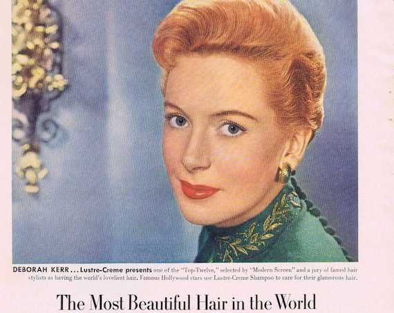1951 Beautiful Deborah Kerr Lustre-Crème or Jeanne Crain Tru-Glo Make-Up and Lipstick by the Westmores of Hollywood Original Vintage Ad