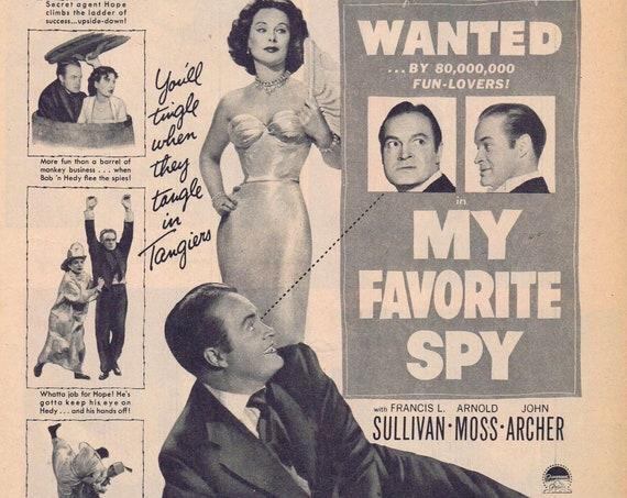 Bob Hope and Hedy Lemarr 1951 My Favorite Spy Vintage Movie Advertisement