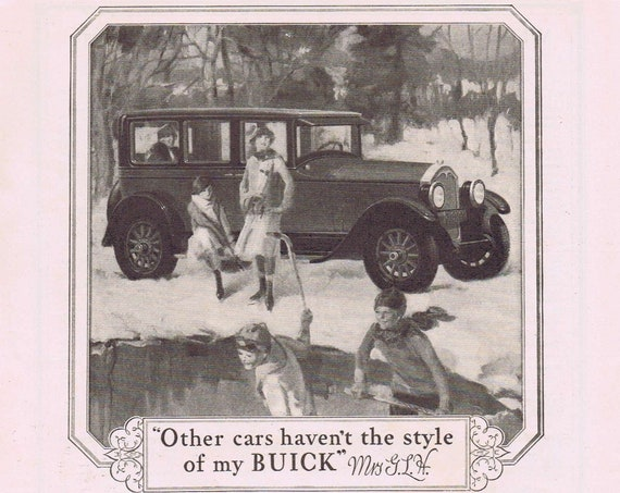 Old 1927 Buick Ad with Family Winter Art Drawing