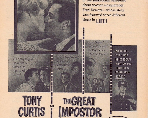 The Great Imposter 1961 Original Vintage Movie Ad with Tony Curtis, Karl Malden and Music by Henry Mancini