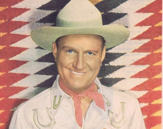 Gene Autry 1949 Color Star Magazine Photo in Classic Western Outfit