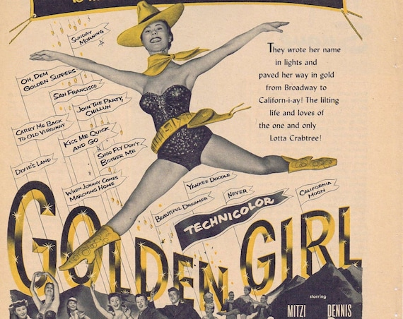 GOLDEN GIRL 1951 Vintage Movie ad with Mitzi Gaynor, Dennis Day, Dale Robertson