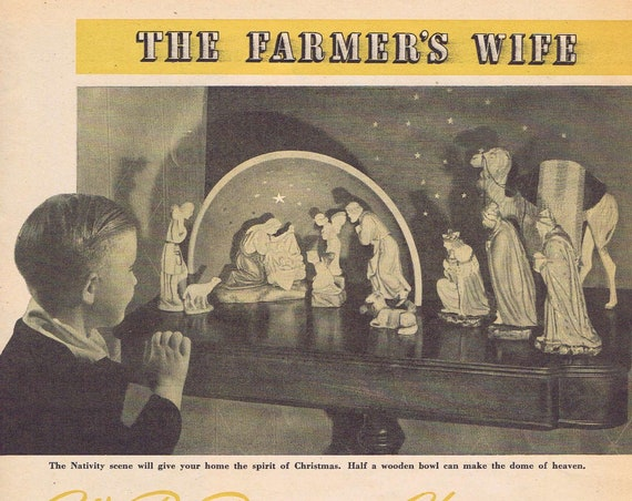 "1942 Farmer's Wife Feature ""We Re-Discover Christmas,"" by Dr. Joseph Newton with Nativity Scene"