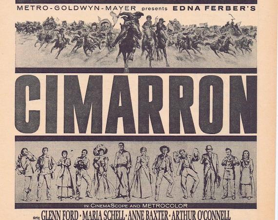 Cimarron Epic Western 1960 Original Vintage Edna Ferber's Movie Ad with Glenn Ford, Anne Baxter and Maria Schell