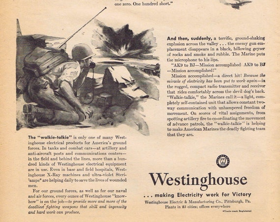 1942 WW2 Westinghouse Mission Accomplished or What Does Your Name Mean? by Ethyl Corporation Original Vintage Advertisements