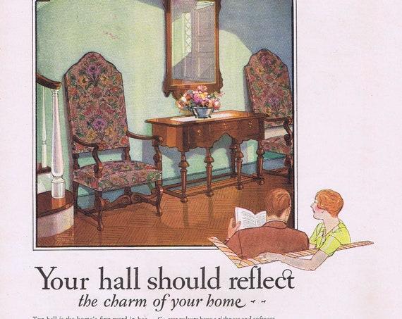 Phenix Cheese or Ca-Vel Hallway Velvet Chairs Original Vintage Advertisements