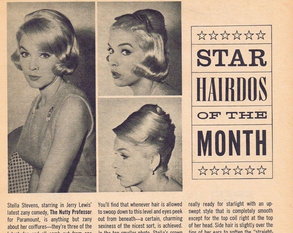 Pretty Stella Stevens 1963 Star Hairdos of the Month Feature with Photos