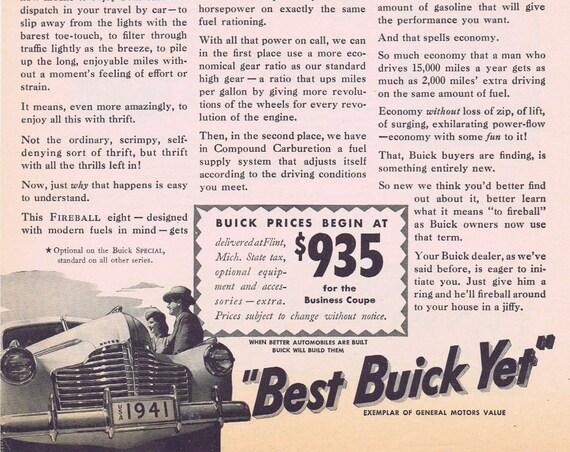 1941 Buick Fireball Eight Original Vintage Automobile Advertisement