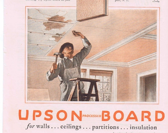 1927 Upson Boards for Wall and Ceilings Original Vintage Advertisement