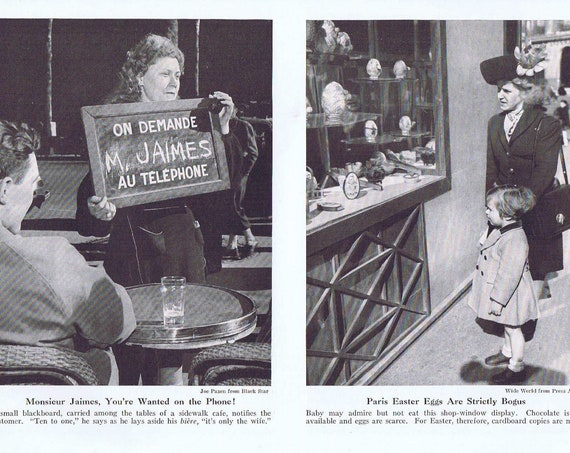Easter Eggs and Sidewalk Café in Paris After WW2 1946 Vintage Magazine Photos