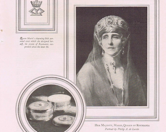 1927 Pond's Cold and Vanishing Cream with Queen Marie of Romania Original Vintage Advertisement