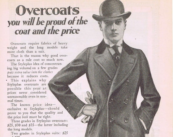 1918 Styleplus Men's Overcoats by Henry Sonneborn Original Vintage Advertisement Classic Pose
