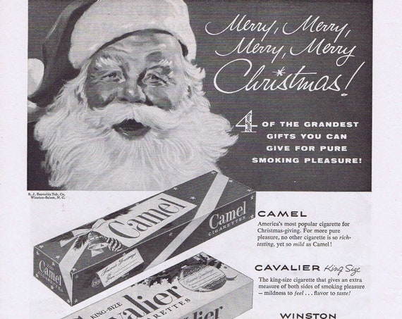 1952 Prince Albert, Winston, Cavalier and Camel Christmas Gift Boxes or Ethyl Gasoline and Men on Fishing Trip Original Vintage Ad