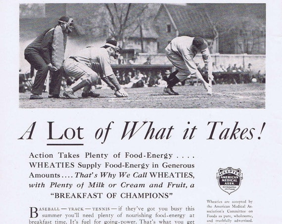 1936 Wheaties Breakfast of Champions Old Time Baseball PIcture  Original Vintage Advertisement