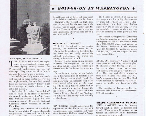 1940 Farm News in Washington Original Vintage Magazine Feature Page