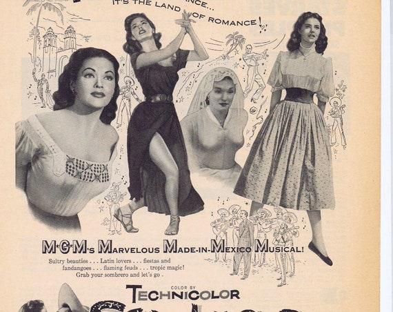 Sombrero 1953 Vintage movie ad with Richardo Montalban &Yvonne De Carlo