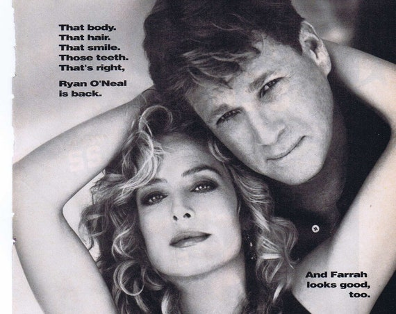 Good Sports 1991 CBS Television Series Advertisement with Farrah Fawcett and Ryan O'Neal