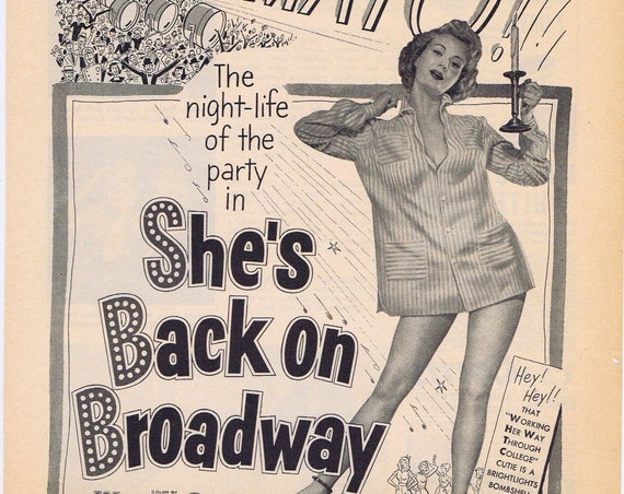She's Back on Broadway 1953 Vintage Movie Ad with Virginia Mayo & Gene Nelson