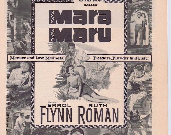 Mara Maru 1952 Errol Flynn Original Movie Ad with Ruth Roman