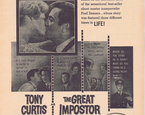 The Great Impostor 1962 Original Movie ad with Tony Curtis as Fred Demara