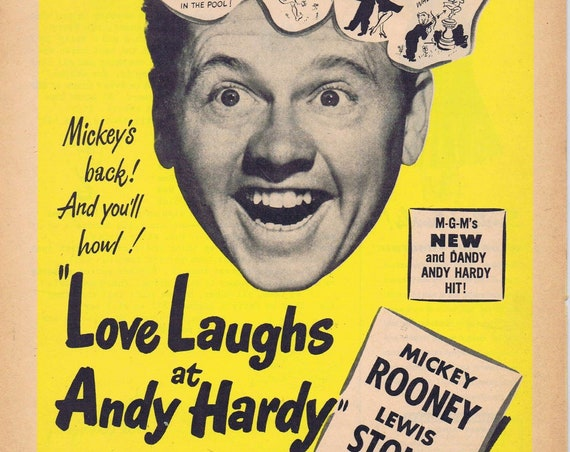Love Laughs at Andy Hardy 1946 movie ad, Mickey Rooney Stars