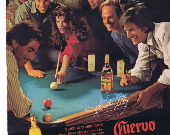 Beautiful Kristie Alley at Billiard Table and Cuervo Especial Tequila 1988 Original Advertisement
