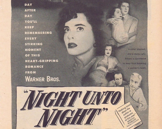 Night Unto Night 1949 original movie ad with Ronald Reagan and Viveca Lindfors