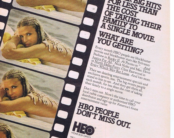 Sexy Bo Derek in Braids and HBO Home Box Office 1980 Original Advertisement