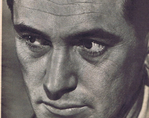 Rock Hudson Hollywood Leading Male Star Unusual Serious Face Close-up Picture