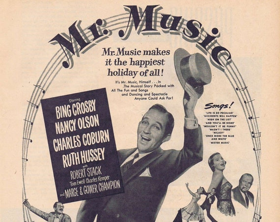 Bing Crosby in Mr. Music 1950 Original Movie Ad with Many Famous Stars
