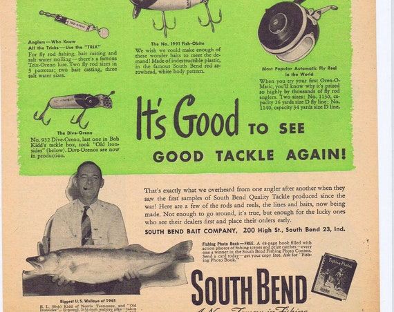 1946 South Bend Fishing Bait Original Ad with Biggest Walleye of 1945