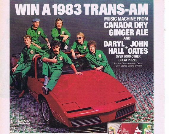 1983 Trans-Am Car with Daryl Hall and John Oates Music Group Original Advertisement by Canada Dry Ginger Ale