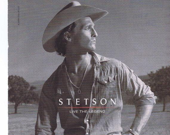 Matthew McConaughey Stetson Live the Legend Men's Cologne 2004 Original Advertisement