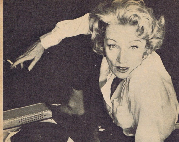 Marlene Dietrich and Quotation About Men in Classic Vintage Pose Picture and