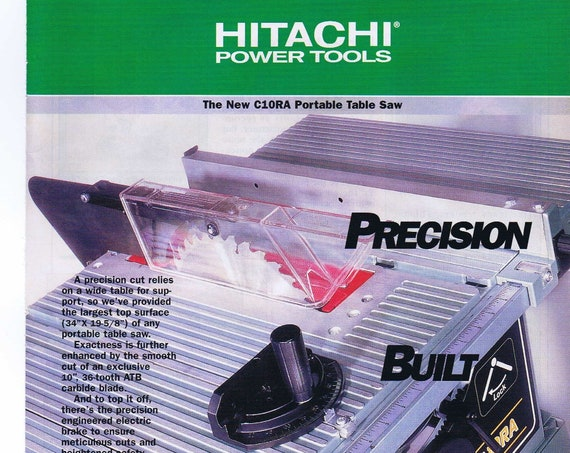 Hitachi C10RA Portable Table Saw Original 1997 Advertisement