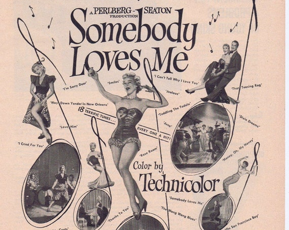 Somebody Loves Me with Betty Hutton 1952 Original Movie Advertisement