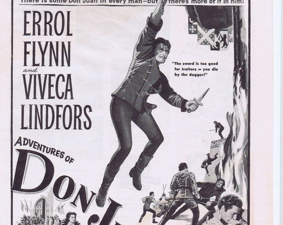 Adventures of Don Juan with Errol Flynn 1948 Swashbuckler Movie Advertisement
