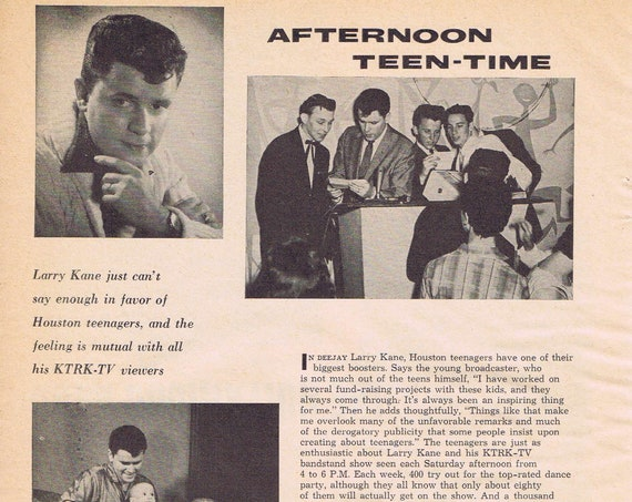 Larry Kane of KTRK-TV Afternoon Bandstand Teen-Time 1960 Vintage Feature Story with Pictures