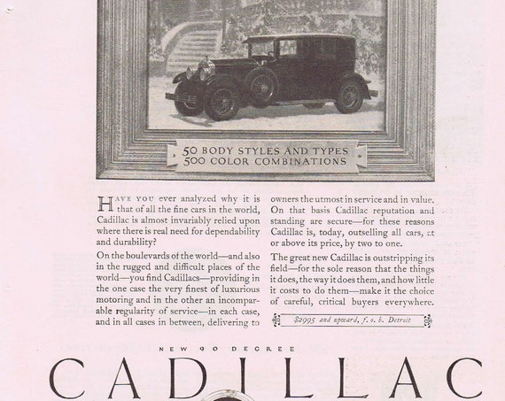 1927 Cadillac Automobile or Sheik and Harem Veil Valentine Party and Dance Original Vintage Advertisement